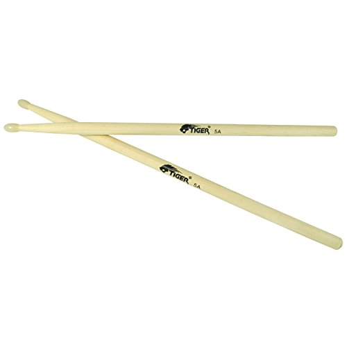 Tiger 5A Maple Drumsticks with Nylon Tips - Wooden Drum Sticks - Pair of Nylon Tip Drumsticks