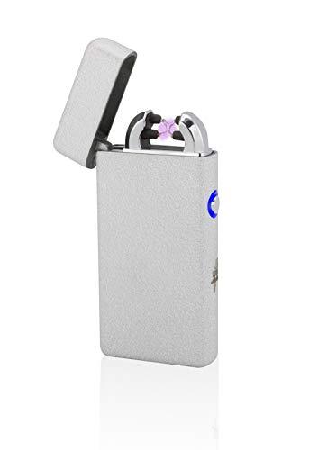 TESLA Lighter T08 | Lichtbogen Feuerzeug, Plasma Double-Arc, elektronisch wiederaufladbar, aufladbar mit Strom per USB, ohne Gas und Benzin, mit Ladekabel, in Edler Geschenkverpackung, Silber