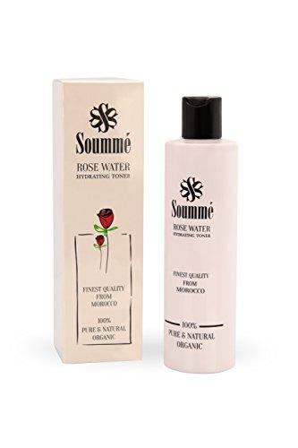 Soummé Rosenwasser - 100% biologisch, organisch & natürlich - ganze 280 ml - reinigend, pflegend und feuchtigkeitsspendend - vegan und bio zertifiziert - Aromatische Nachfüllen