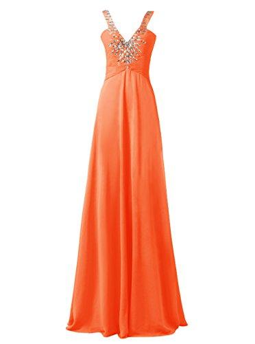 Dresstells Robe de soirée Robe de cérémonie col en V avec bretelles longueur ras du sol Orange