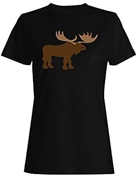 Alce camiseta de las mujeres n411f
