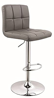 Model No. 0295 Set Of Two Bar Stools Imitation Leather with Quilted Backrest Height-Adjustable GREY