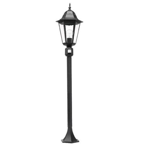 Klassische 1-flammige Standleuchte 122 cm hoch in schwarz mit Bewegungsmelder für Leuchtmittel E27 max. 100W