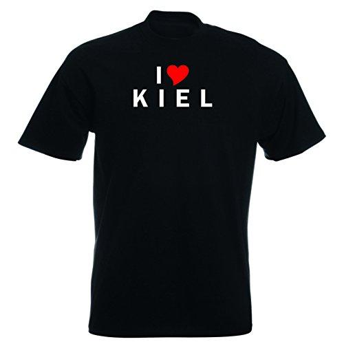 T-Shirt mit Städtenamen - i Love Kiel - Herren - unisex Schwarz