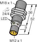 Turck Sensor,ind,M18x1,m.Steck. Bi8-M18-AP6X-H1141 DC,pnp,no,sn=8mm,b Induktiver Näherungsschalter 4047101099737