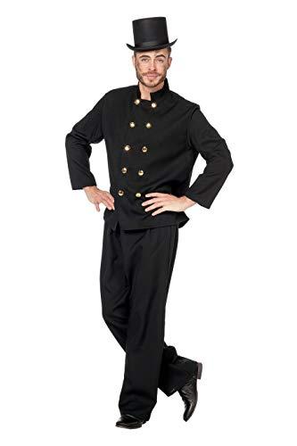 Schornsteinfeger-Kostüm Herren Schwarz Oberteil und Hose (ohne Hut) Karneval Fasching Hochwertige Verkleidung Fastnacht Größe 50 Schwarz (Schornsteinfeger Kostüm Herren)