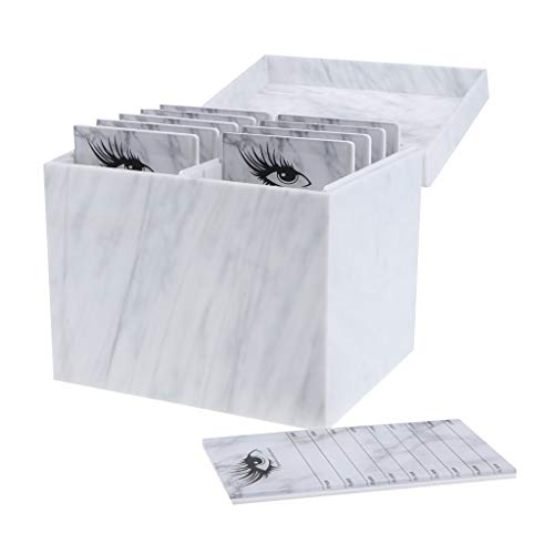 IPOTCH 10 Lagige Acryl Wimpern Aufbewahrungsbox Wimpernunterlagen Lashes Organizer Wimpernverlängerung Box - Marmor -