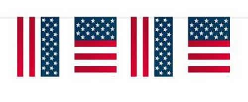 Preisvergleich Produktbild 10m Girlande * USA Amerika * mit 15 Wimpel von Folat // Bunting Flag Party Geburtstag Stars Stripes Feier Fete Deko Motto Mottoparty Wimpelkette Partykette (Grundpreis: 0,49 Euro/m)