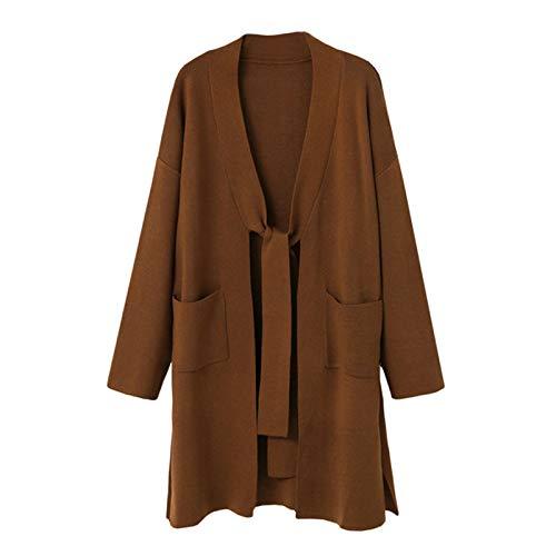 VIOY Herbst Größe Frauen Mittellange Strickjacke Lange Ärmel Strickjacke Mantel,Kaffee,M