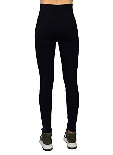 AMORETU Damen Winter Undurchsichtige Stretch Workout Leggings Hose Schwarze Große Größen(Dünne & Dicke) Stil A: Schwarz