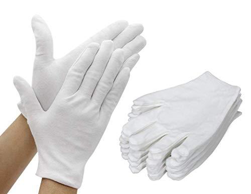 Kostüm Fett Paar - BAIF Arbeitshandschuhe Baumwollhandschuhe, verdickte, reparierbare Software-Sicherheitshandschuhe für die Inspektion, Küche, Outdoor, 12 Paar (weiß)