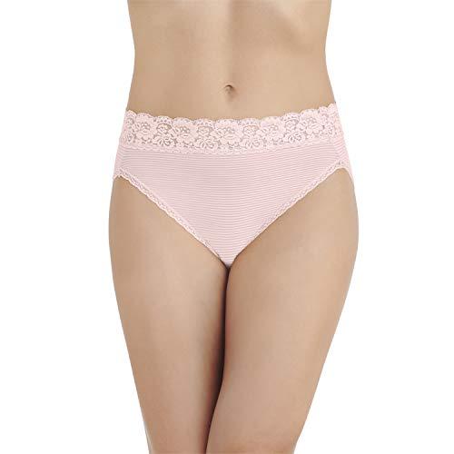 Vanity Fair Damen Flattering Lace Hi Cut Panty 13280 Unterhose, Sheer Quartz Stripe, X-Large (34) -