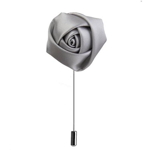 Homyl Rose -Blume förmig Brosche Ansteckblume Brosche Hochzeit Dekor Zubehör für Unisex - Silber
