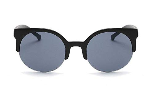 WSKPE Sonnenbrille,Retro-Frame Sonnenbrillen Damen Runde Sonnenbrille Weibliche Katze Augen Brillen Schutzbrillen Classic Matt Schwarzen Rahmen Graue Linse