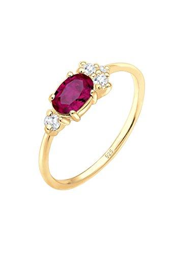 Elli Premium Damen Echtschmuck Ring mit Zirkonia Steine mit Synthetischer Rubin in 925 Sterling Silber vergoldet