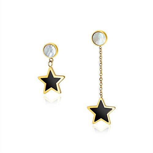 Black Star Bai asymmetrische Temperament Pentagramm Ohrringe ()