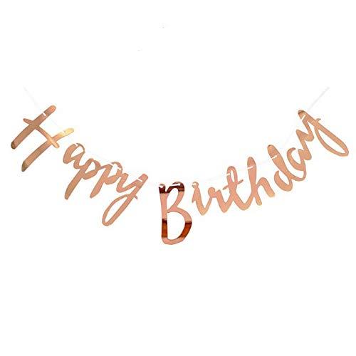 Cavore Happy Birthday Banner in Rosegold metallic - Schriftzug-Girlande zum Aufhängen - Geburtstagsdekoration für Erwachsene und Kinder - Mädchen und Jungen (Happy-birthday-banner 50)