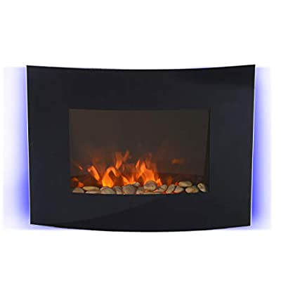 HOMCOM LED CURVED GLASS ELECTRIC WALL MOUNTED FIRE PLACE FIREPLACE 7 COLOUR SIDE LIGHTs SLIMLINE PLASMA FAN HEATER