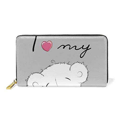 Agoyls Geldbörse Portemonnaie Purses Women Naughty Bear Pu Leather Wallet with Zipper Coin Pocket -