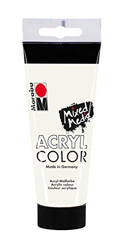 Marabu 12010050070 - Acryl Color, cremige Acrylfarbe auf Wasserbasis, schnell trocknend, lichtecht, wasserfest, zum Auftragen mit Pinsel und Schwamm auf Leinwand, Papier und Holz, 100 ml, weiß