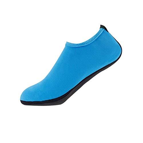 Xmiral Wasserschuhe Damen Gummisohle Einfarbig Laufschuhe Trocknend Badesandale für Pool Surfen Yoga Schwimmschuhe Wasserdicht Barfuß Schuhe rutschfest Badelatschen(Blau,38-39 EU)