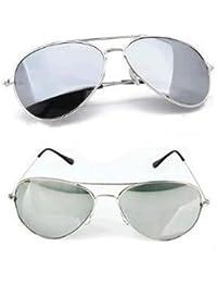 Twin Pack-His & Hers Erwachsene Medium/Mini Silber verspiegelte Pilotenbrille Full Komplett mit 2x Reinigungstücher 2x Micro Fibre Staubbeutel 2x passende Bindekordeln bieten UV400-Schutz Cat 4Objektive