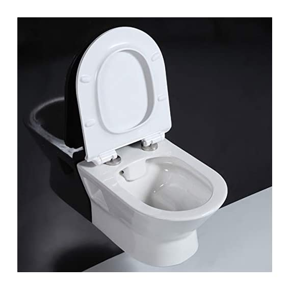 Ceramic Wall Hung/Wall Mounted Designer (Clean Rim) Rimless/Rimfree Water Closet Toilet with Slim Seat Cover (Standard, White)