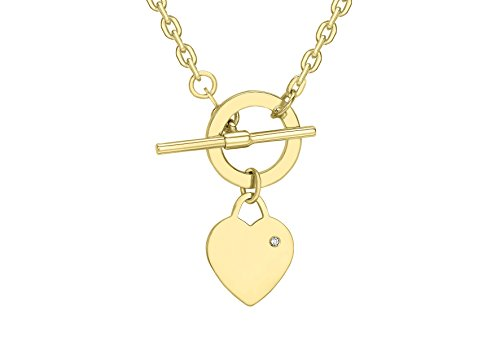 Carissima Gold 9 ct Yellow Gold Diamond Set Heart T-Bar Chain Necklace of 41 cm/16 inch