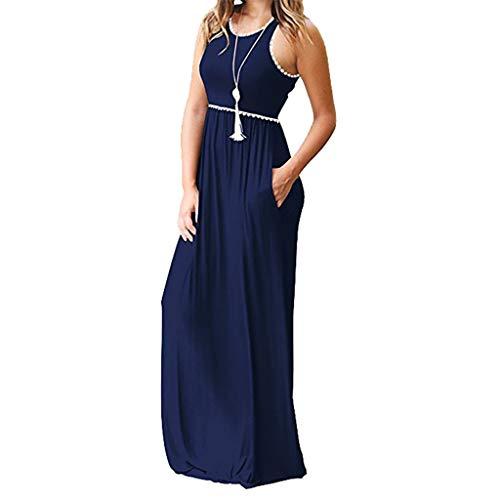 Heiß Kleider für Damen Liusdh Rundhals Solide Kurzarm Maxi Kleider Casual Langes Kleid Mit Tasche(Navy3,M)