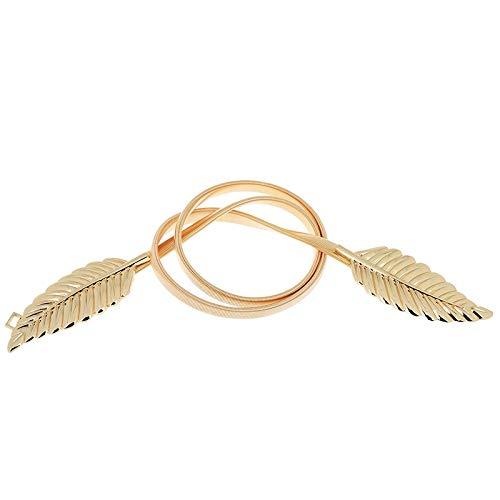 RQZQ Körperkette 2 stücke Stretch Gold/Silber Metall Farbe Blattform Körper Taille Kette Kleidung Kleid Zubehör Ketten Für Frauen Elegante Körperschmuck Heißer