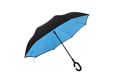 Reverse paraguas invertido – Inverted doble capa coche paraguas – resistente al viento y ultravioleta prueba de paraguas de viaje con forma de C mango – Dracarys (azul celeste)