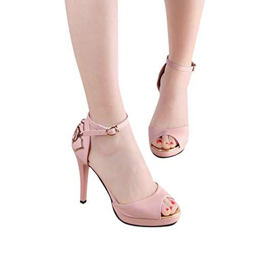HILOTU Frauen Sexy Stiletto High Heel Mode Atmungsaktiv Einfarbig Anti-Rutsch-Sandalen Frühling Sommer Urban Sling Back Metall Blumendekor Sandalen (Color : Rosa, Size : US:6)