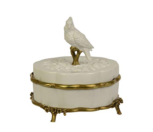 Ellas-Wohnwelt Kleine Porzellan-Dose China-Design-Design mit Deckel und Bronze Verzierungen -