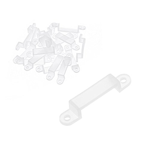 ZCHXD 20 Pcs Silicone Fix Mounting Brackets Clip for 14mm Wide LED Strip Light White Wide Led