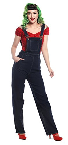 Collectif Damen Latzjeans Pippa High Waisted Latzhose Blau XS