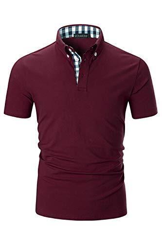 Herren Klassische Button-down-shirt (YCUEUST Herren Kurzarm Poloshirt Polohemd Polo Shirts mit Kariert Polokragen (XXX-Large, Rot))
