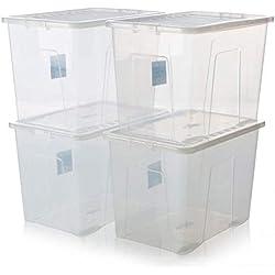 Racking Solutions Lot de 4 boîtes de Rangement et Couvercle Transparent 80 l