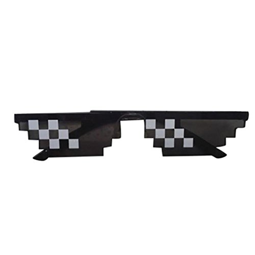Rapper COOL Mosaic Thug Life Attitude Glasses EUZeo 8 Bit Pixel deal with It Sunglasses Unisex Sunglasses (B)
