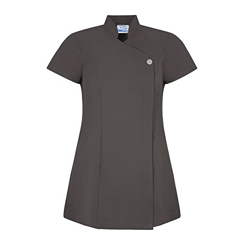 Workwear World WW133 Jilly Crossover Colour Collection Wrapover Beauty Therapist Salon Spa Tunic Graphite (10)