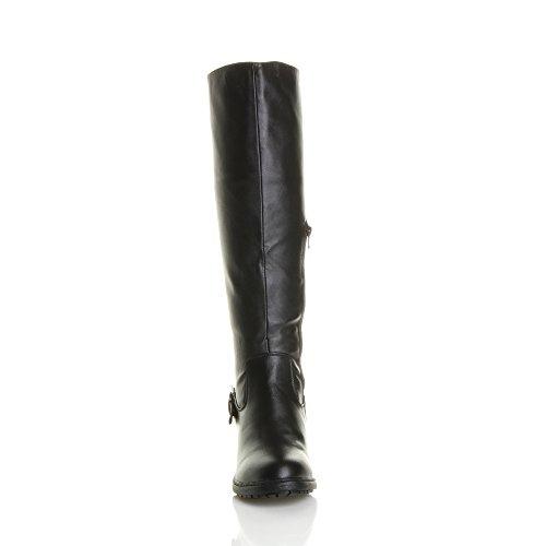 large bottes Noir motard taille Femmes cuissardes boucle mollet de haute carré talon 4nqfORI