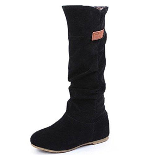Herbst Winter Langschaft Stiefeletten Wärm Stiefel Schlupfstiefel Winterstiefel Boots Elegant Flache Schuhe für Damen Mädchen, Schwarz 38EU