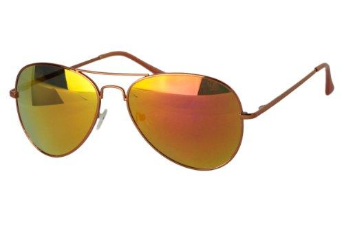 Sense42 | Pilotenbrille | Fliegerbrille für Damen und Herren | verspiegelte Sonnenbrille | mit Federscharnier-Bügel | blau, gold, grün, orange, silber