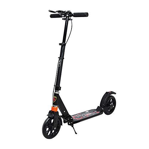Aocean City Roller Scooter, Klappbar&Höhenverstellbar Roller für Erwachsene | Big Wheel Scooter Cityroller mit Doppelfederung ab 12 Jahre bis 100kg, Black