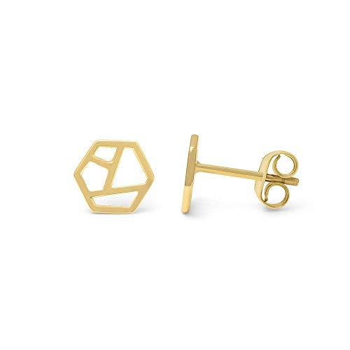 prettique Damen Ohrstecker aus 925 Sterlingsilber/Vergoldet (18 Karat) mit geometrischem Design - Gold - Ohrringe - Geschenk