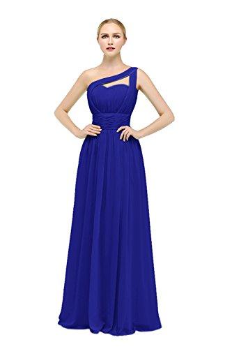 Bbonlinedress Damen One Shoulder Brautjungfernkleider Chiffon Bodenlang Abendkleider Royalblau