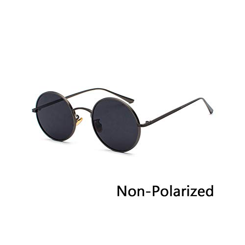 Sport-Sonnenbrillen, Vintage Sonnenbrillen, Retro Punk Style Men Sunglasses Women Vintage Round Metal Frame Farbeful Lens Sun Glasses Fashion Eyewear Gafas Sol UV400 N04 Black Grey
