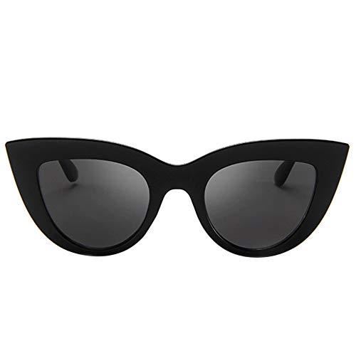 CHOULI Mode Retro cat Eye Sonnenbrille Trendige Wilde Sonnenbrille Frauen Sonnenbrille Leuchtend schwarz voll grau