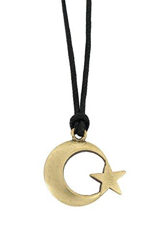 Gök-Türk Halskette für Herren mit Anhänger 'Halbmond mit Stern' - Schwarze Schnur