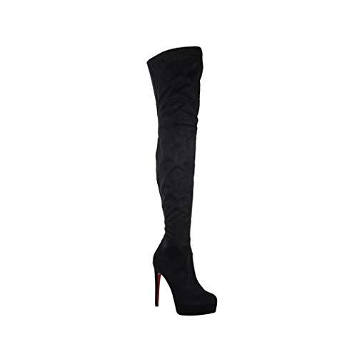 Elara Damen Stiefel | Bequeme Overknee High Heels | chunkyrayan WLD554 Black-37