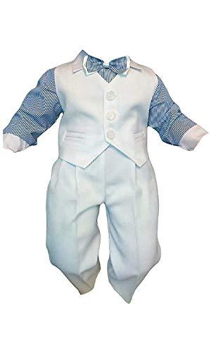 Taufanzug Baby Junge Kinder Hochzeit Anzüge Festanzug, 4tlg , Weiß-Blau K5A Größe 74 - Exklusiver Anzug